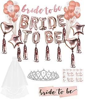 Lehoo Castle Bride to be Luftballon für die Hochzeitsfeierdekoration+Bride to be Brautpartyzubehör, einschließlich Bride to be Schärpe, Bride to be Banner, Bride to be Tattoos, Strass-Tiara&Schleier