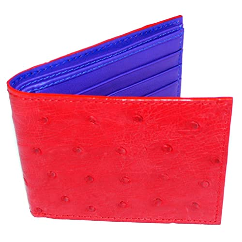 3e842437f95 Leather Bifold Wallet with ID Holder, Red Ostrich Leather