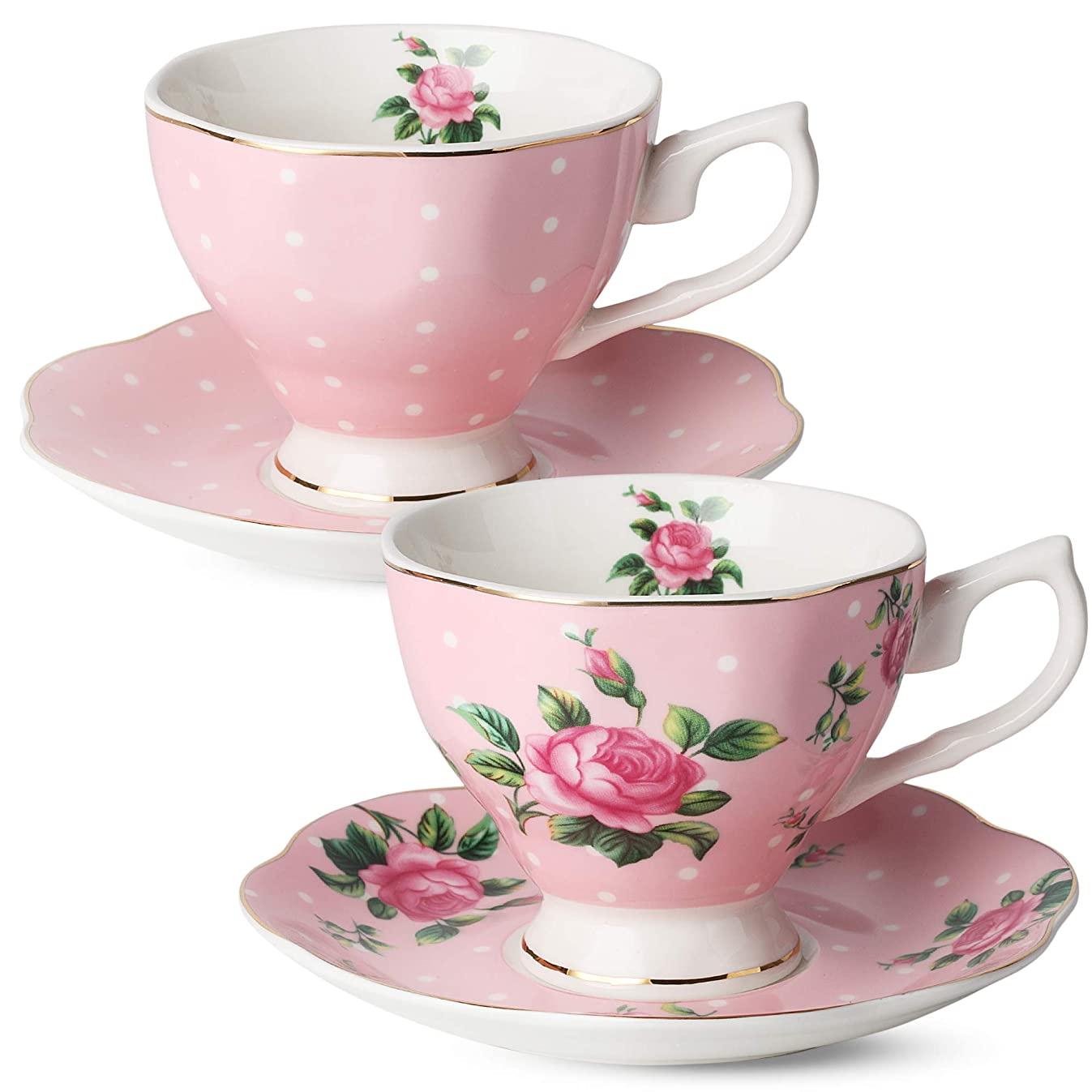 BT?T- Floral Tea Cups and Saucers, Set of 2 (Pink - 8 oz) with Gold Trim and Gift Box, Coffee Cups, Floral Tea Cup Set, British Tea Cups, Porcelain Tea Set, Tea Sets for Women, Latte Cups