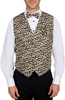 Men's Animal Printed Leopard Print Vest Bow Tie and Hanky Set for Proms Weddings and Formal Events