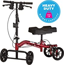 NOVA Medical Heavy Duty Knee Walker, Steerable Knee Scooter with 400 lb Weight Capacity, Crutch Alternative, Metallic Red Color