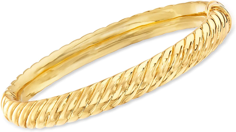 Ross-Simons 18kt Gold Over Sterling Spiraled Oval Bangle Bracele