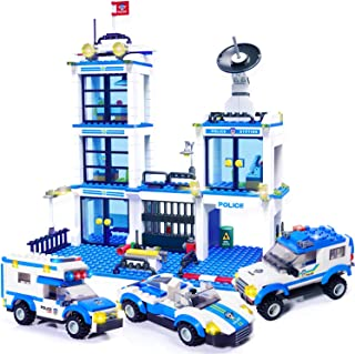 WishaLife 716 Pieces City Police Station Building Kit, Police Car Toy, City Sets, Police Sets with Cop Car & Patrol Vehicles for Boys and Girls 6-12