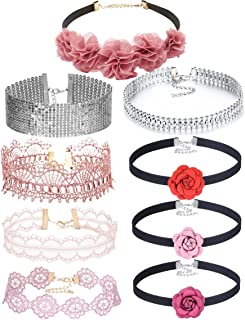 Tpocean 9pcs Vintage Pink Lace Black Velvet Flower Chokers Necklace Bling Crystal Diamond Silver Women Necklace Chockers for Girls Teens Wedding Gifts