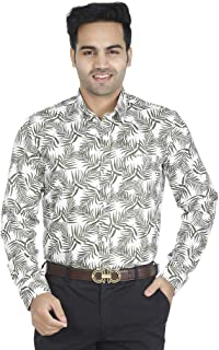 EL FIGO Men's Casual Full Sleeve Off White Floral Cotton Printed Slim FIT Shirt