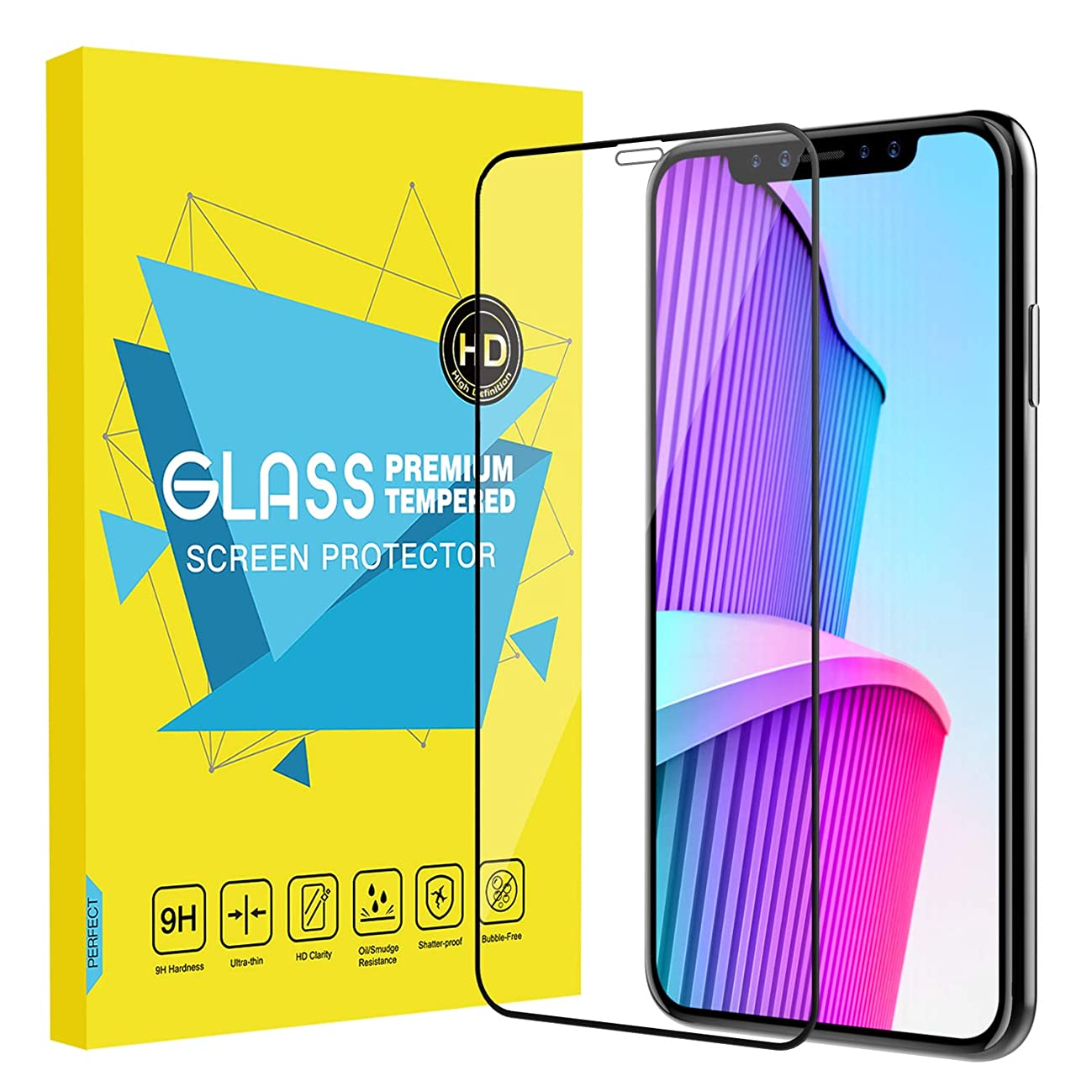 MoKo Screen Protector Replacement with iPhone Xs Max, [Scratch Terminator][Case-Friendly] Bubble-Free Clear 9H Hardness Tempered Glass Screen Protector Film Fit with iPhone Xs Max 6.5 inch 2018, Black
