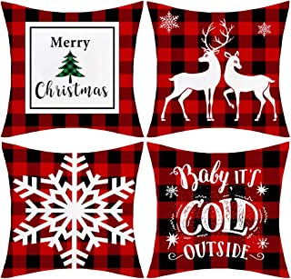 JOMMIE CHEN 4 Pack Christmas Throw Pillow Covers, Soft Indoor Outdoor Pillowcases 18x18, Snowflake, Deer, Santa Claus Cushion Cover, Red Pillows for Sofa, Bed and Car(Red Plaid)