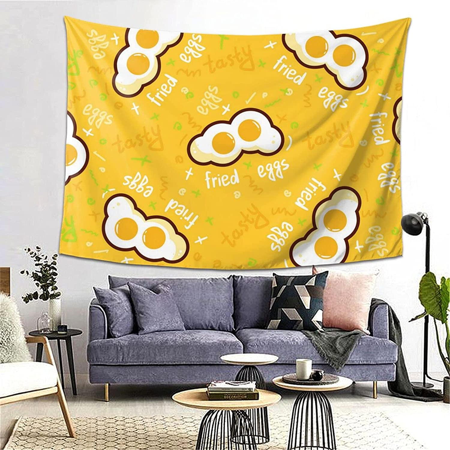 POAA Tapestries Wall Art Cute Fried Manufacturer direct delivery Eggs Outlet ☆ Free Shipping Twins Aesthetic Tapestr