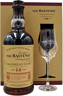 The Balvenie Whisky Caribbean Cask 14 Jahre 0,7l  1 Glas in Geschenkpackung