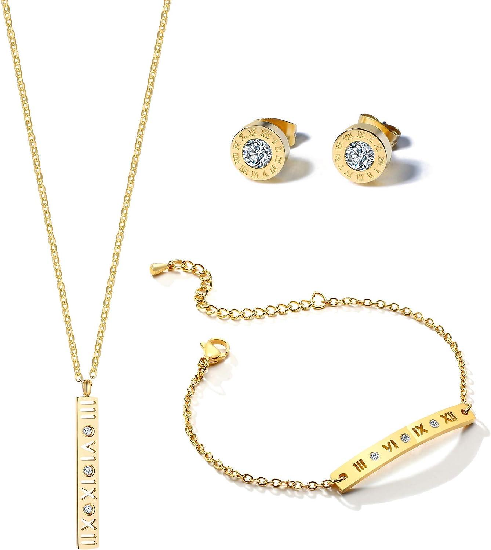 VNOX Jewelry Set Vertical Cubic Zircon Roman Number Love Bar Necklace Bracelet Earrings Gift for Women Girls