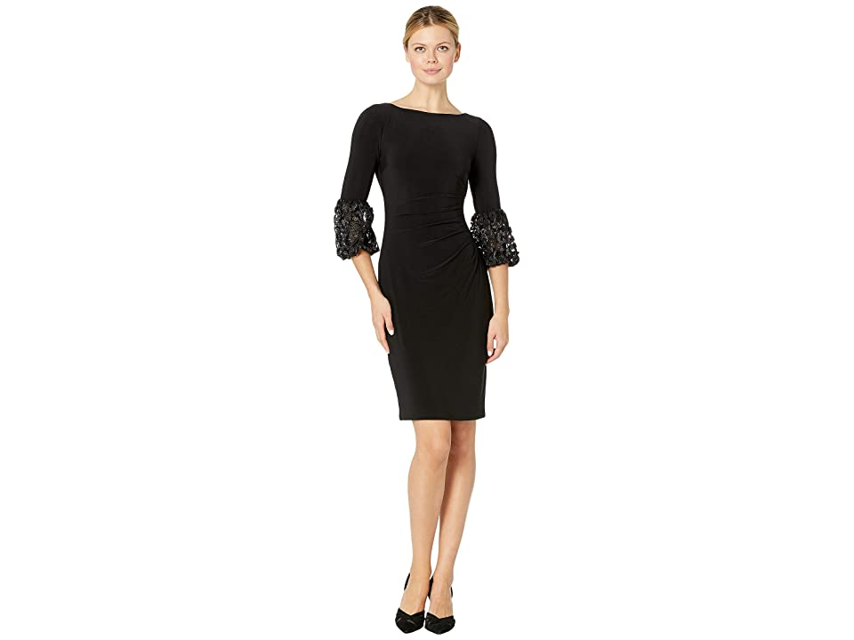 LAUREN Ralph Lauren 1T Matte Jersey Vidella 3/4 Sleeve Day Dress (Black/Silver Metallic) Women