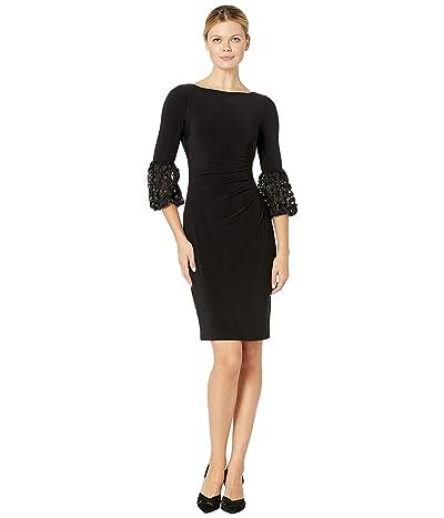 LAUREN Ralph Lauren 1T Matte Jersey Vidella 3/4 Sleeve Day Dress (Black/Silver Metallic) Women