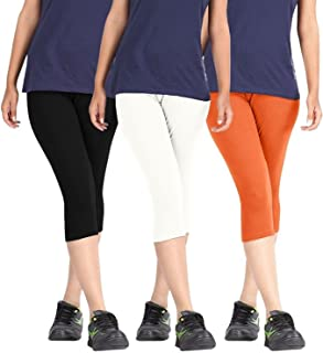 ROOLIUMS ® (Brand Factory Outlet Womens Cotton Capri Combo Pack of 3, 4 Way, 190 GSM - Free Size (Black, White, Orange)