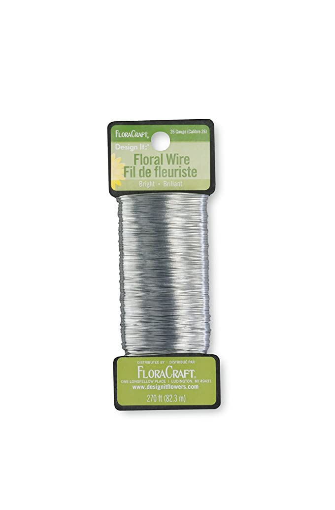 FloraCraft 26 Gauge Floral Paddle Wire 270 Feet Bright Silver