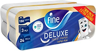 Fine, Toilet Paper, Deluxe, 150 sheets x3 Ply, pack of 24 rolls, Twin Pack