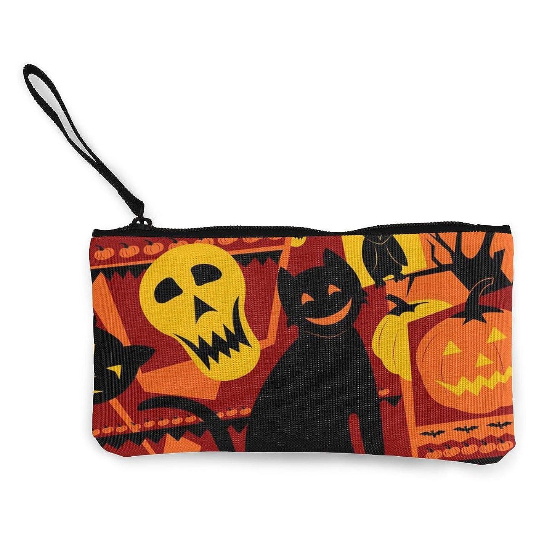 震える酔う理論財布 キャンバスコインポケット ハロウィンかぼちゃ 小さなオブジェクトを保存する ストレージライティングツール、描画定規、ペン、ステッカー、化粧品、口紅、マスカラ、小さな収納キャンバスバッグ