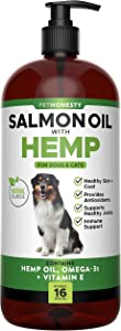 PetHonesty Salmon Oil + Hemp for Dogs & Cats - Wild Alaskan Salmon Oil - Fish Oil, Hemp Oil, Reduce Itching & Dry Skin, Omega-3 for Dogs, DHA for Pets, Joint/Immune Support, 16-oz Bottle Liquid Pump