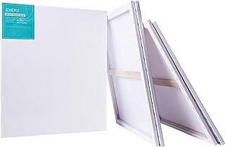 EXERZ Juego de 4 Lienzos preestirados/Paquete de 4 Lienzos Enmarcados/ 50 x 60 cm/ 280GSM/ Pre-Estirado 100% Algodón/Color Blanco/Triple Preparado/Libre de Acido/Hebra Media/ 1,7 cm de Espesor