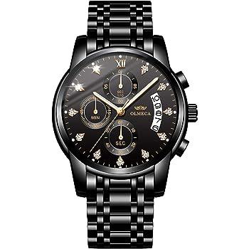 OLMECA Men's Watches Diamonds Wristwatches Sports Fashion Chronograph Functions Calendar Date Waterproof Luminous Fashion Quartz Wrist Watches Stainless Steel Band 827