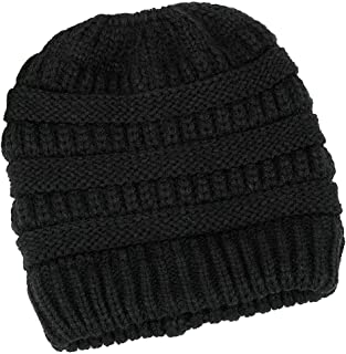 Lamdgbway Trendy Knit Hat Cable Beanie Stretch Chunky Winter Bun Ponytail Beanie