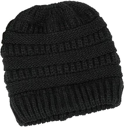 1081dcb9204 Lamdgbway Trendy Knit Hat Cable Beanie Stretch Chunky Winter Bun Ponytail  Beanie