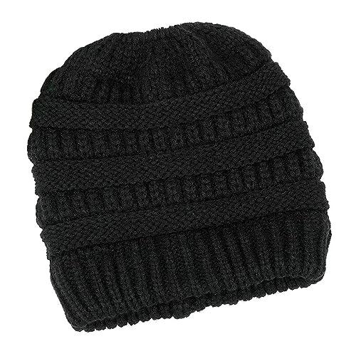 5588b78fdb1 Lamdgbway Women Knit Hat Winter Beanie Stretch Chunky Cable Messy Ponytail  Bun Hat