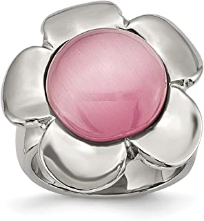 ICE CARATS Stainless Steel Pink Cats Eye Flower Band Ring Stone Flowers/Leaf Fashion Jewelry for Women Gift Set