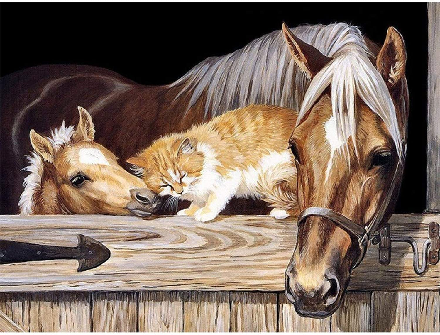 DIY Oil Painting by Numbers Kits for Adults Modern Un on Canvas Pictures for Living Room Paint by Numbers Animal Horse,Framed,60X75cm