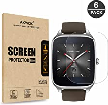 AKWOX [6-Pack] Screen Protector for ASUS ZenWatch 2-1.6 Inch, Full Coverage Anti-Bubble Screen Protective Film