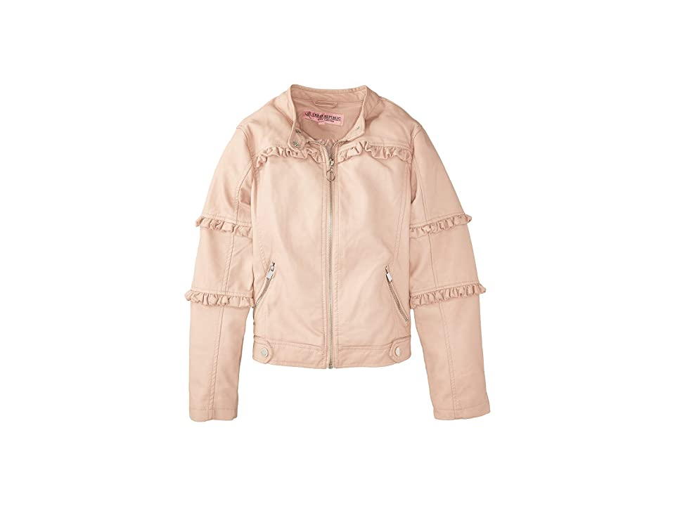 Urban Republic Kids Bella Faux Leather Ruffle Jacket (Little Kids/Big Kids) (Rose Smoke) Girl