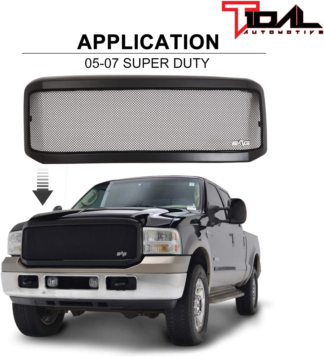 Tidal Ranking TOP20 Selling Front Hood Grille Black Stainless Mesh with Fit ABS Shell
