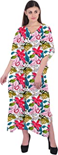 RADANYA Women Caftan Bathing Suits Cover Up Floral Print Kaftan Beach Maxi Dress