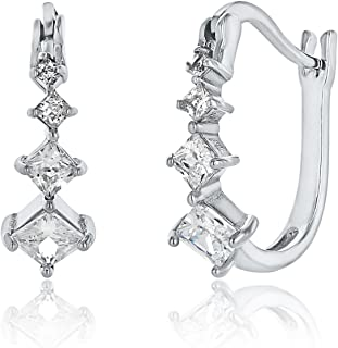 Montage Jewelry Women's Sterling Silver & Square Cubic Zirconia Bridal Hoop Earrings