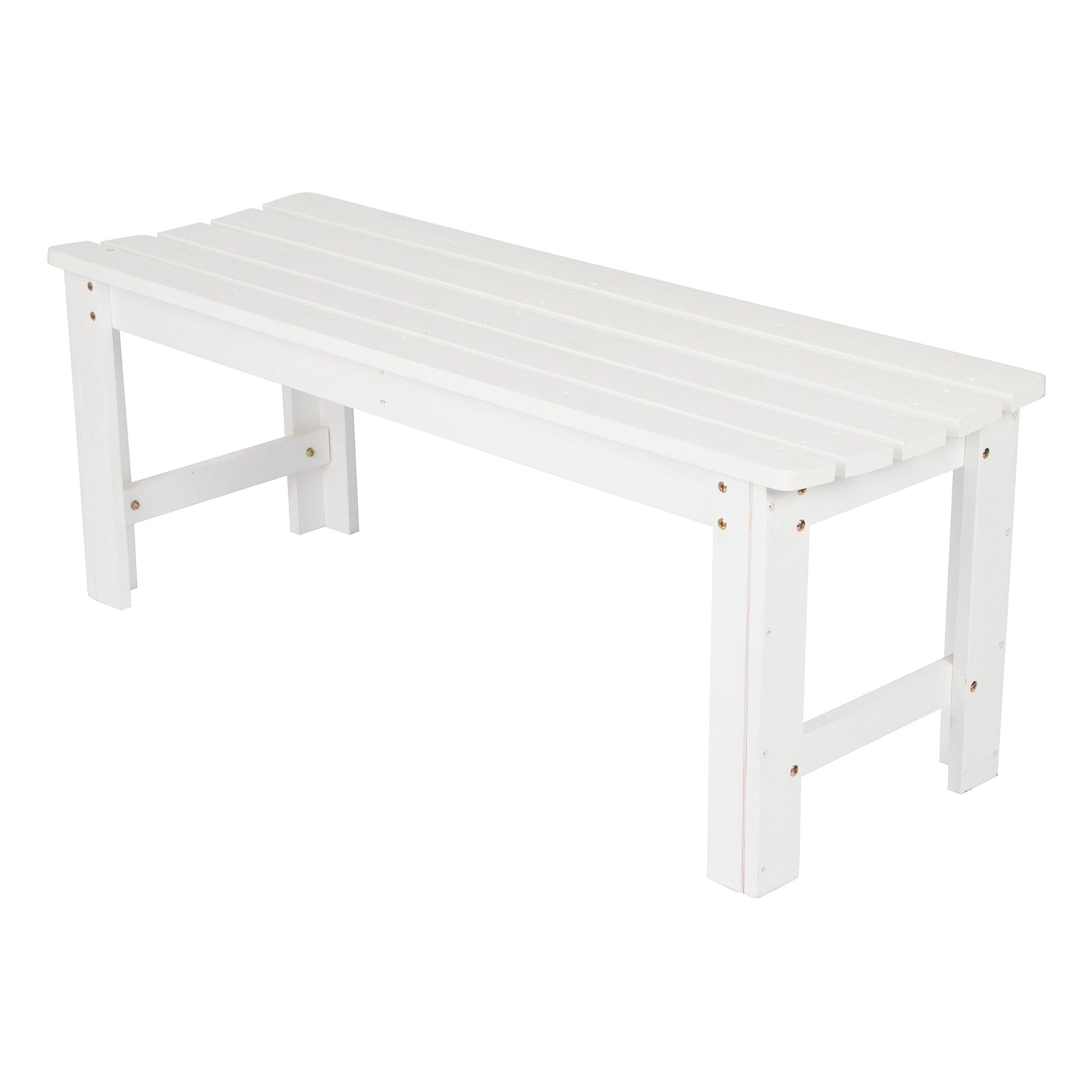 Shine Company Inc. 4204WT Backless Garden Bench, 4 Ft, White