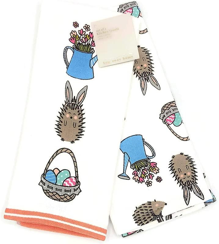 Hop Away Home Easter Hedgehog Bunnies Spring Floral Kitchen Towel Set