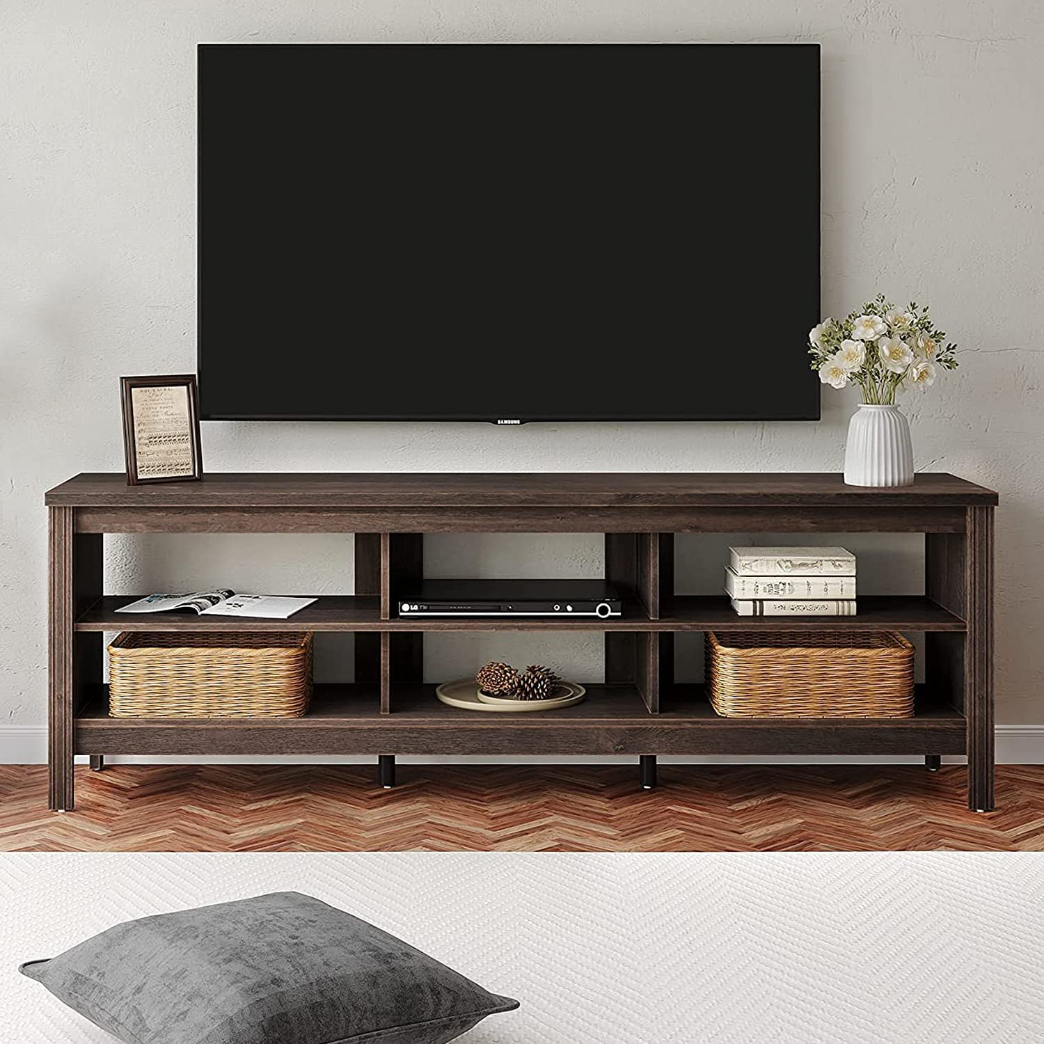 FITUEYES Farmhouse TV Stand for 75 Century 結婚祝い Mid Flat 国内正規総代理店アイテム inch Screen