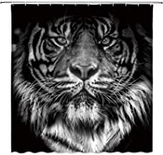 Xnichohe Tiger Shower Curtain Tiger Head in Dark Africa Wildlife Animal 3D Printing Polyester Fabric Bathroom Decor Set 70 Inches with Hooks White Black