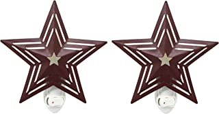 CVHOMEDECO. Metal Barn Star with Punched Stripes Electric Night Light, 7 Watt Silicone Candle Bulb Included, Set of 2. (Burgundy)