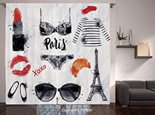 Thermal Insulated Blackout Window Curtain [ Paris City Decor,Various Symbols of Eiffel Tower Glasses Grubnoy Lipstick Shoes Lingerie Accessories, for Living Room Bedroom Dorm Room Classroom Kitchen