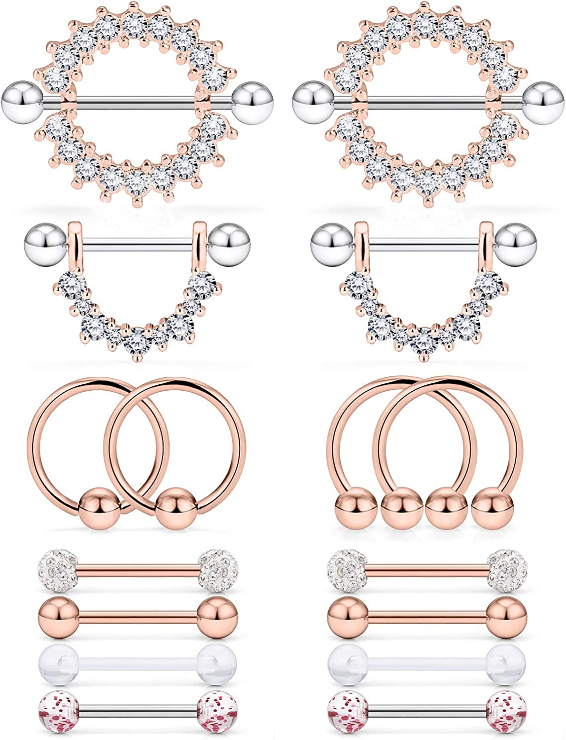 Cisyozi 8 Pairs 16G 14G Stainless Steel Screw Nipple Tongue Shield Ring Barbell Body Piercing Jewelry Retainer 9/16 Inch 14mm