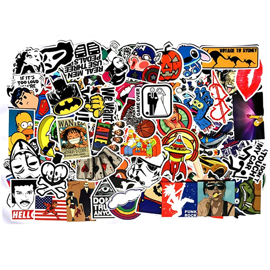 NAVAdeal 100pcs Assorted Waterproof Glossy Vinyl Stickers, Perfect for Laptop, Phone Case, Helmet, Guitar, Skateboard, Luggage Graffiti, Travel Case, Motorcycle and Bicycle – (B)