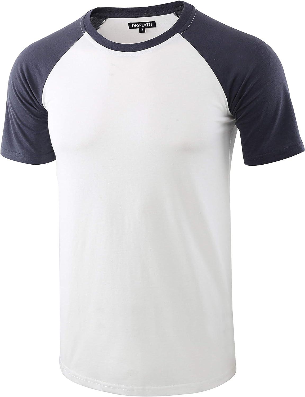 DESPLATO Mens Casual Basic Vintage Cr Raglan latest Sleeve Active Max 65% OFF Short