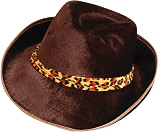 Forum Novelties Men's Adult Velvet Fedora Hat with Leopard Print Band