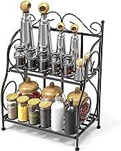 Ganeed Spice Rack, Foldable Shelf Rack Kitchen Bathroom Countertop, 2-Tier Standing Storage Organizer Spice Jars Bottle Sh...