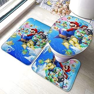 Game Super Mario Bath Mat 3 Piece Set Bathroom Carpet Set Soft Anti-Skid Pads Bath Mat + Contour Pads + Toilet Lid Cover, Absorbent Carpet Bath and Mat Anti-Slip Pads Set