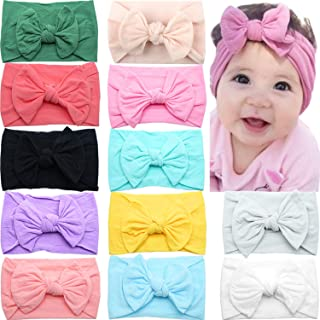 CELLOT 12 Colors Super Stretchy Soft Knot Baby Girl Headbands with Hair Bows Head Wrap For Newborn Baby Girls Infant Toddl...