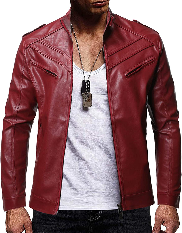 Men Leather Jackets,Vintage Classic Leather Zip Up Biker Bomber Jacket V1626