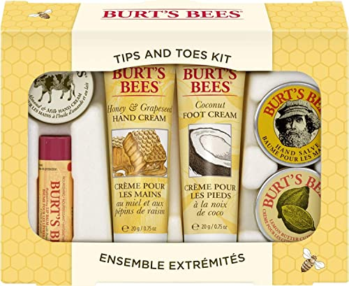 Burt's Bees Tips and Toes Kit Gift Set, 6 Travel Size Products in Gift Box - 2 Hand Creams, Foot Cream, Cuticle Cream...