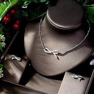 طقم مجوهرات للنساء مزين بعقدة قوس جميلة AAA مكعبة من الزركونيا إكسسوارات فساتين الزفاف MacBook (اللون: مطلي بالبلاتين)