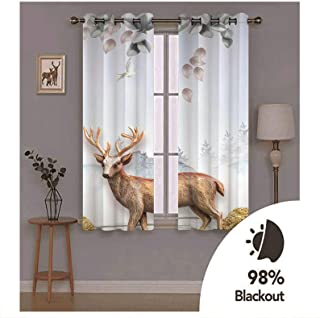 Epinki Polyester Curtains Grey White Brown Deer Tree and Bird Window Drapes and Curtains for Bedroom, Available in 21 Size...